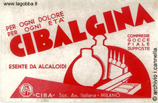 Cartolina pubblicitaria della Cibalgina anni '40