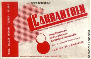 Cartolina pubblicitaria del Carbantren degli anni '40