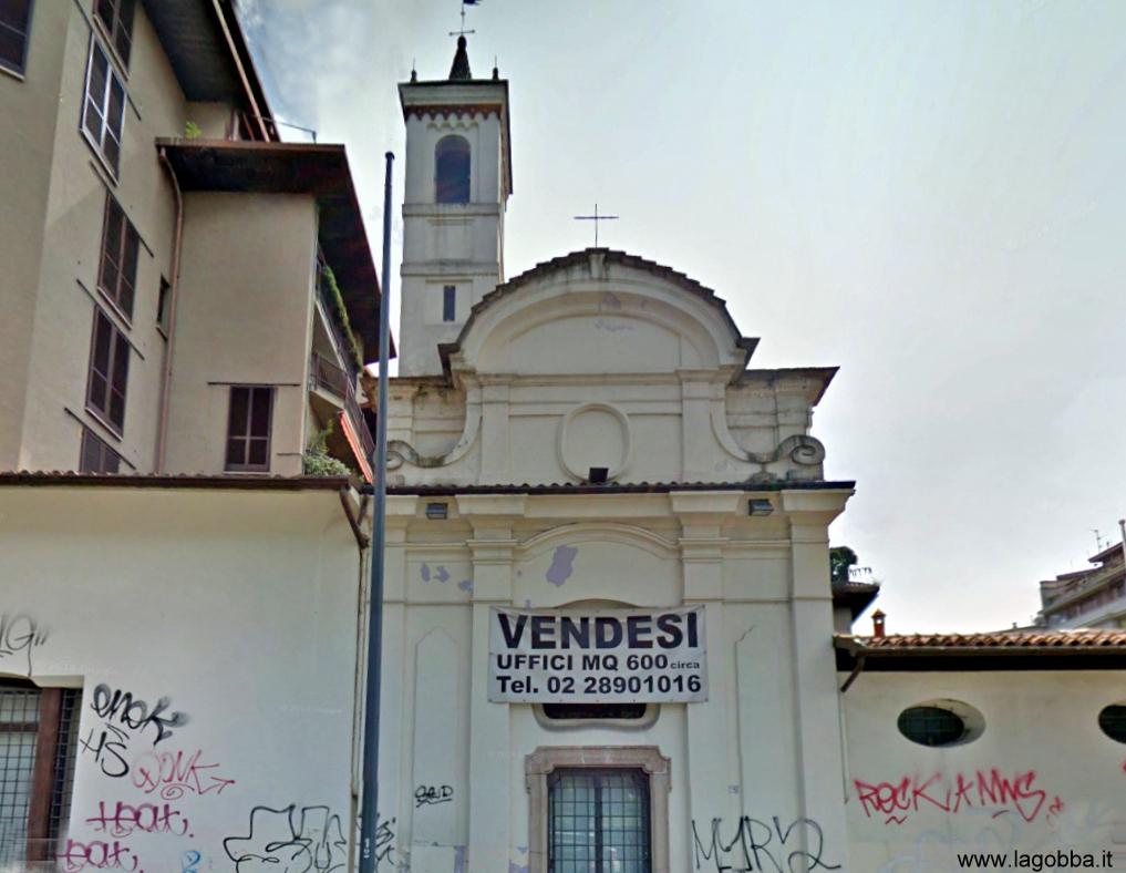 2014, la chiesa di S. Carlo alle Rottole, rivcostruita e in abbandono.